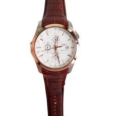 Tissot White and brown leather watch