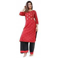 Ladies Dress Material Red and Black