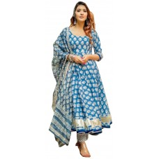 Ladies Dress Material Blue and White